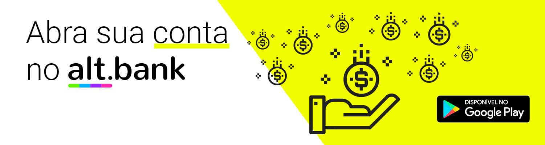imagem com símbolos de dinheiro em uma mão e a frase: abra a sua conta no altbank