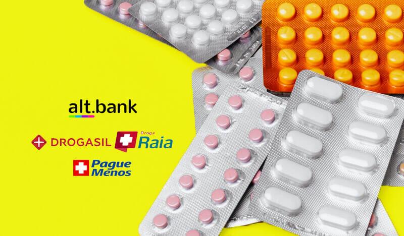Clientes alt.bank compram medicamentos com desconto na rede Raia Drogasil e Pague Menos
