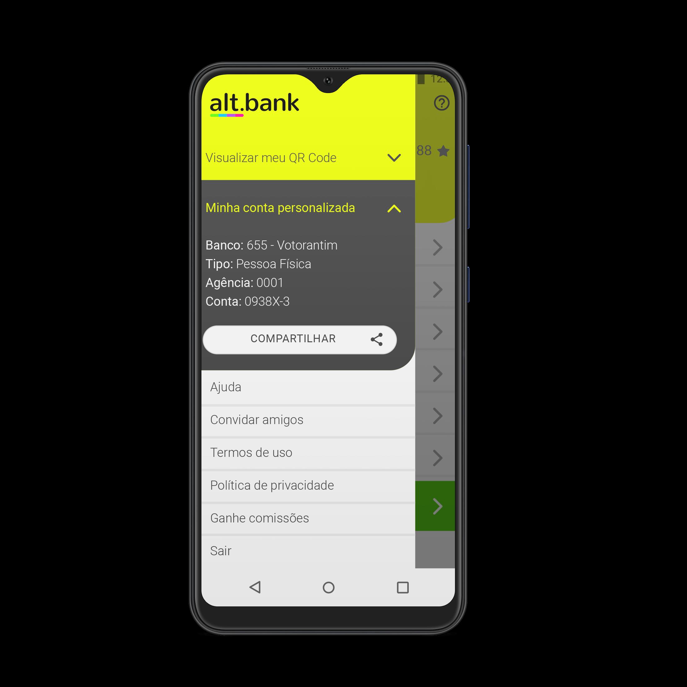 smartphone com aplicativo altbank aberto
